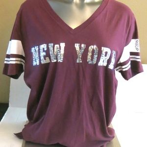 "VS PINK Orchid Bling ""New York"" Perfect V Neck"